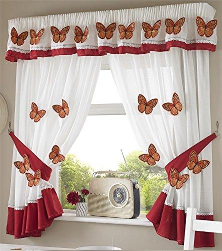 Butterflies 21 Mariposas Cortinas Plisadas de Cocina Cortinas y Abrazaderas, Blanco/Naranja, 46x 42Pulgadas, poliéster, Blanco y Naranja, 1,68 x 1,37 m (66 x 54 Pulgadas)