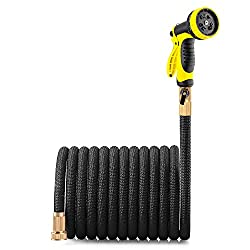 small Lightweight and expandable brass garden hose with valve connection and 10-shaped spray nozzle –…