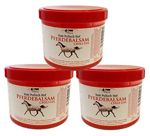 Iloda® 3x 500ml Pferdebalsam Chili Gel vom Pullach Hof, Pferdesalbe Pferdegel, Wärmegel, Wärmesalbe, Pferdesalbe mit wärmenden Gefühl