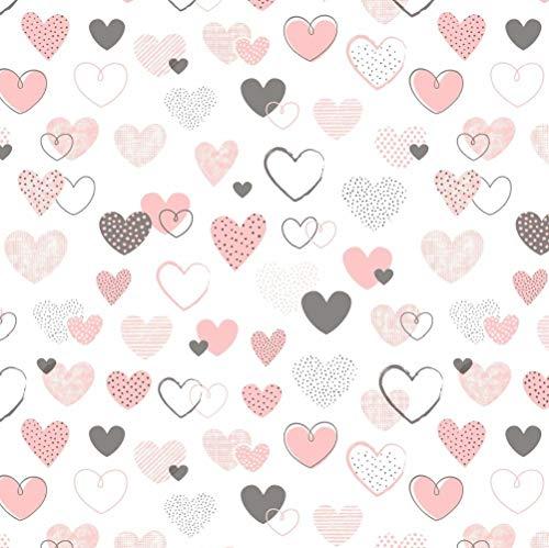 Pingianer Tissu de couture 100 x 160 cm cœur 100 % coton pour enfants au mètre 100 % coton, Cœur rose et noir, 100 x 160 cm