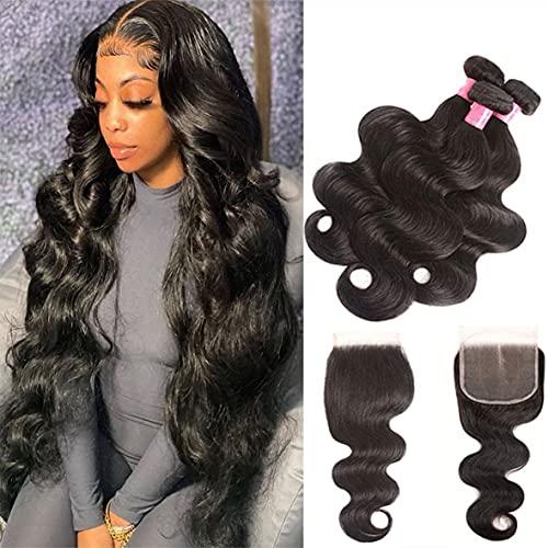 Brazilian Human Hair Body Wave Bundles with Closure T Part Lace Closure 8A Unprocessed Virgin Hair 3 Bundles with 4x1 Part Lace Closure (40 40 40+20 inch t-part closure, natural color-body wave)