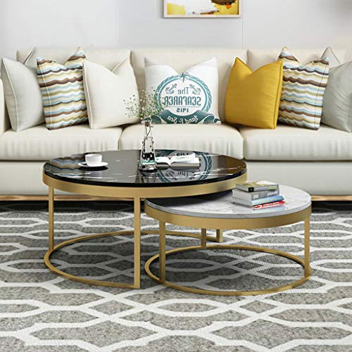 FZH 2 stuks | ronde bijzettafel met bijzettafel | Decor salontafel voor woonkamer in huis | metalen voet voor bureaublad in marmer