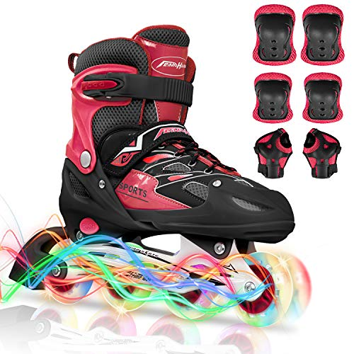 Adjustable Inline Skate for Kids - Inline Quad Combo Roller Skates with 8...