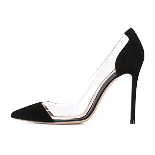 ac39bbe1004 Sammitop Women s 100mm Pointed Toe Transparent High Heels Pumps Party  Wedding Dress Shoes