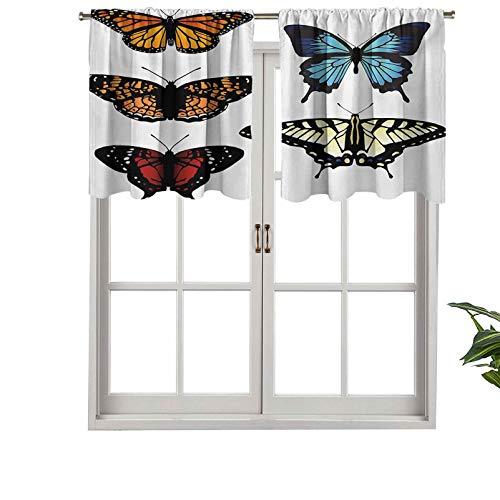 Hiiiman Cortinas cortas opacas con bolsillo para barra, cinco mariposas diferentes, coloridas monarcas y alas de insectos, juego de 1, 127 x 45 cm, cenefas pequeñas para cocina