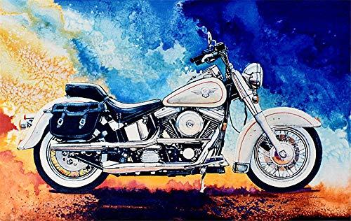 Kit de pintura por números Diy pintura al óleo para niños y adultos, diseño de moto de 16 x 20 pulgadas (marco)