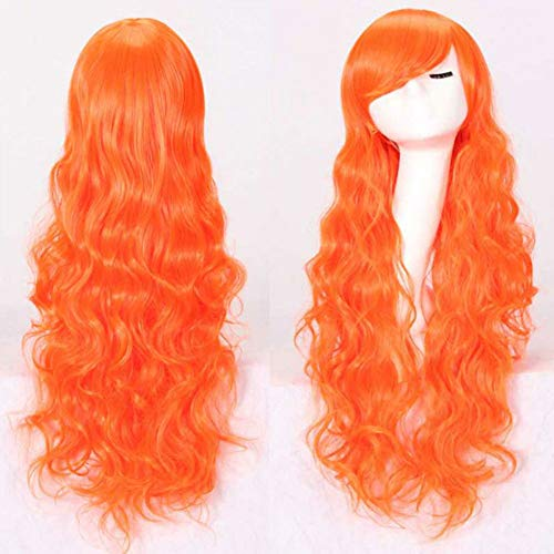 GLXQIJ Sexy Lady Fashion Lose Lange Volle Perücke Mit Pony-Frisur Für Abendkleid-Partei Cosplay, Synthetic, Curly, Big Wellig, Hitzebeständige,LightOrange