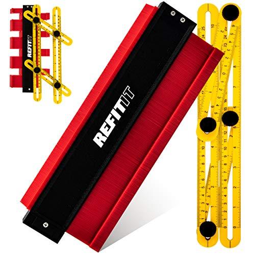 REFIT IT © Konturenlehre Groß 250mm mit EXTRA Winkelschablone - Profillehre 10'' mit Skala für Laminat, Fliesen, Parkett, Angleizer Holzbearbeitung Werkzeug