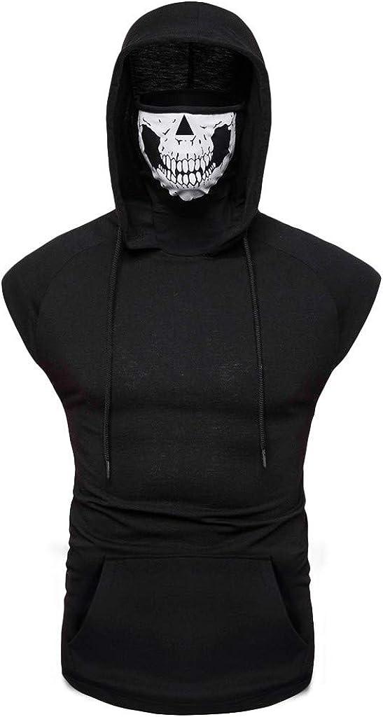 Colmkley Men's Skull Mask Sport Vest Hooded, Workout Running Athletic Shirt Top