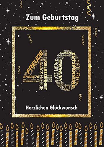 Elegante Glückwunschkarte Geburtstag Geburtstagskarte A5 mit Nummer 40 und Glückwünschen Schwarz Gold 40. Geburtstag