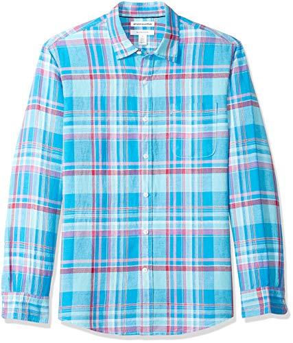 Amazon Essentials - Camisa regular de lino a cuadros con manga larga para hombre, Aguamarina Cuadros, US XL (EU XL - XXL)