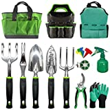 Gardening Tools-Heavy Duty Garden Tools with Gloves&Handbag(Random Color)-Aluminum Outdoor Garden Tools Set with Trowel Pruners and More - Garden Gifts for Men Or Women-Large Size Hand Tools,11pcs