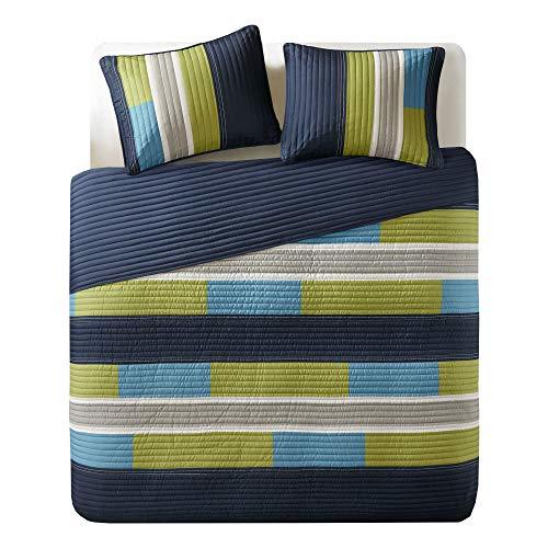 Comfort Spaces Pierre 3 Piece Quilt Coverlet Bedspread All Season Lightweight Hypoallergenic Pipeline Stripe Colorblock Kids Bedding Set, Full/Queen, Blue/Navy