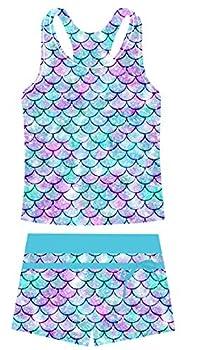 Belovecol Girls  Two Piece Swimsuits Kids Boyshort Tankini Bathing Suits Fashion Mermaid Scales Print Sleeveless Swimwear 8-9T