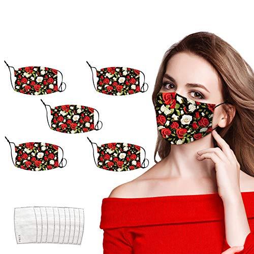 5 Piezas mascarill_as PM2.5 Tela Mujer con 10 Piezas Filtro de carbón Activado, Estampado Floral,Correa de Oreja Ajustable