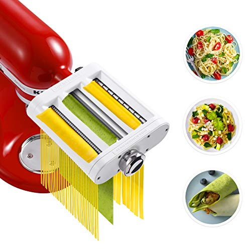 Jovan Home Pasta Maker Attachment 3-in-1 Compatible With KitchenAid Stand Mixer Built-in Pasta Roller - Fettuccine Cutter - Spaghetti Cutter - Professional Pasta Maker Accessories for Stand Mixer