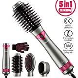Hairdryer Warm Air Brush, Hair Dryer Comb 5 in 1Hot Air Brush Dryer Styler & Volumizer, 2 Replaceable Brush Negative Ionic Hair Straightener Brush & Curl Brush for All Hair Types by Wirhaut
