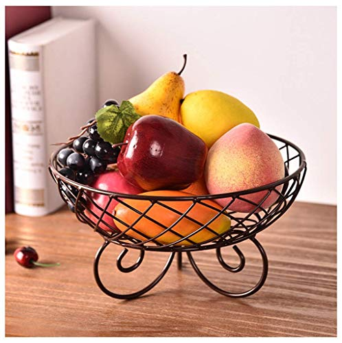 Daily Accessories Fruit Plate Living Room Fruit Bowl European Dried Fruit Plate Household Simple Fruit Basket (color : BLACK)