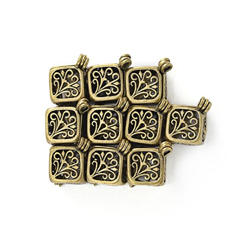 Yumei Jewelry Antique Bronze Aromatherapy Diffuser Pendant Cubic Brass Fligree Cage Locket Charms,Pack of 10