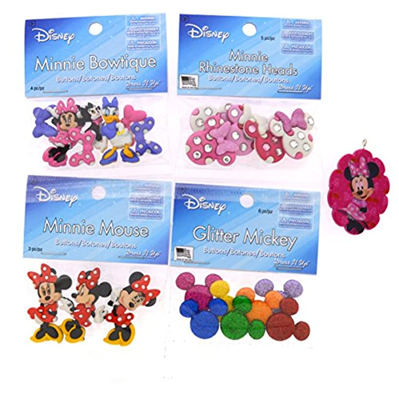 Dress It Up Disney Minnie Mouse Button Embellishment Assortment - 4 Pack - Includes Free Minnie Mouse Pendant