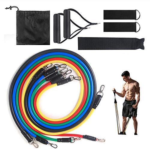 limit Resistance Bands Set Premium Exercise Bands with Handles Ankle Straps Door Anchor and Guide Book  for Men Women Home Workouts and Resistance Training Colorful 02