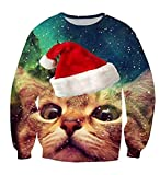 Cutiefox Womens Crew Neck Ugly Cat Christmas 3D Print Pullover Sweater Sweatshirts Blue S