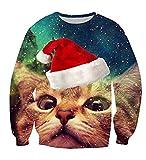 Cutiefox Womens Ugly Cute Cat Christmas 3D Print Crew Neck Long Sleeve Pullover Sweater Sweatshirts Blue M