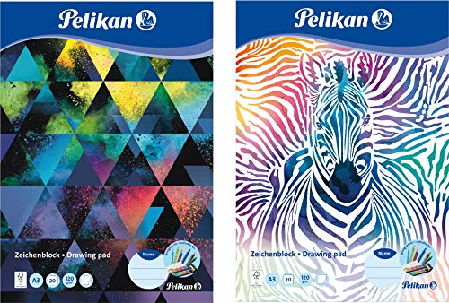 Pelikan Zeichenblock, A3 20 Blatt, Deckblatt mit Motiv sortiert (5er Pack) 120g FSC-Mix