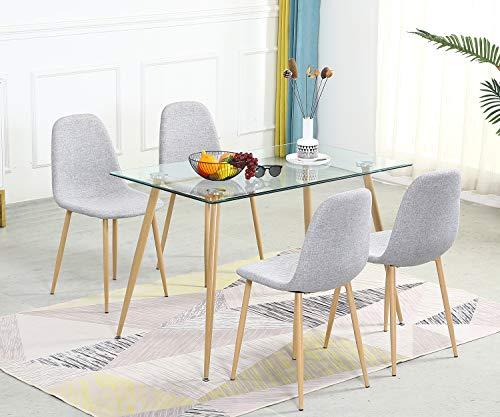 Bacyion Mesa de Comedor de Cristal con 4 Sillas Conjunto de Comedor con Asiento Tapizado de Tela Gris para Comedor, SalóN O Cocina, 120x70 CM
