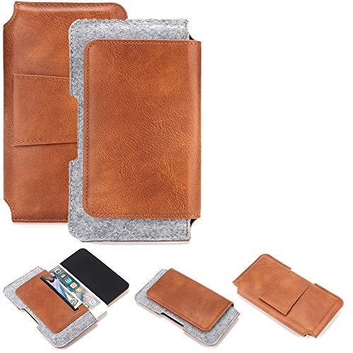 K-S-Trade Schutz Hülle Kompatibel Mit Nubia Z18 Mini Gürteltasche Holster Gürtel Tasche Schutzhülle Handy Smartphone Tasche Handyhülle PU + Filz, Braun (1x)