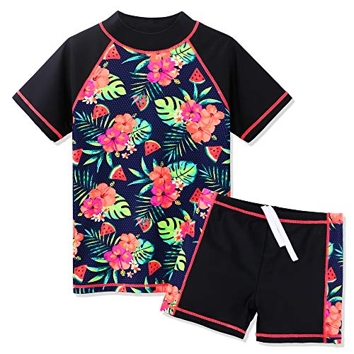 ZNYUNE Girls 2PCS Swimsuit Short Sleeve Kids BeachSwimming Set Costume for 3-12Years S324 Black 14A