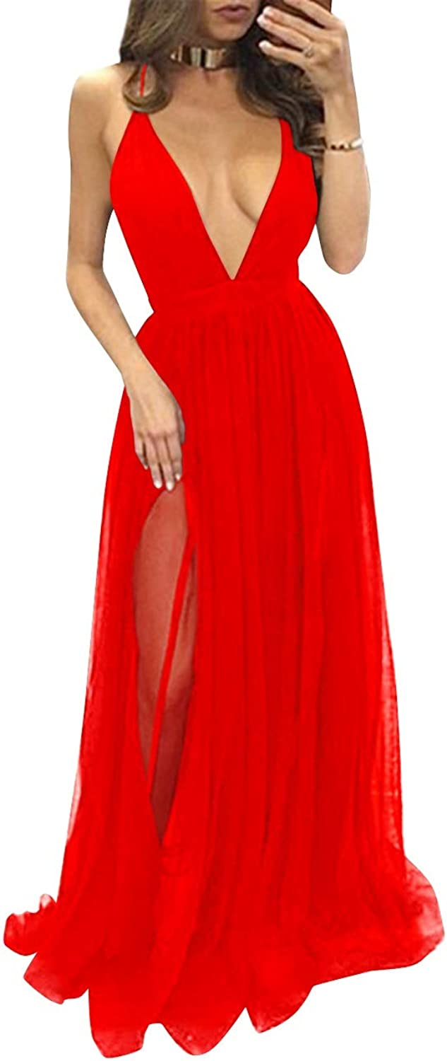 Bess Bridal Women's Sexy Deep VNeck Long Backless Sheer Tulle Prom Party Dress