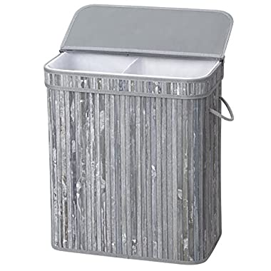 SONGMICS Divided Bamboo Laundry Basket Double Hamper with Lid Handles and Removable Liner Two-section Dirty Clothes Bin Box Storage Sorter Rectangular Distressed 100L Gray ULCB64GW