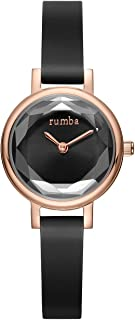 RumbaTime Women's 'Venice' Quartz Stainless Steel and Silicone Casual Watch, Color:Black (Model: 27051)