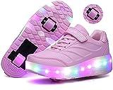 qmj Chaussures De Patinage À roulettes Techniques À Roues Doubles 7 Couleurs Clignotantes À LED Patins À Roues Alignées Cross Trainers,Pink-35