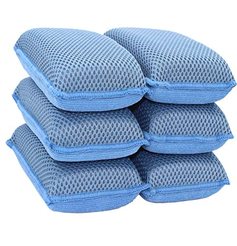 Miracle Microfiber Kitchen Sponge by Scrub-It (6 Pack) - Non-Scratch Heavy Duty Dishwashing Cleaning sponges- Machine Washable - (Blue)