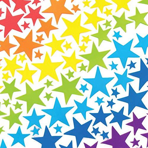 Baker Ross AX412 Regenbogen Stern Moosgummi Aufkleber - 210 Stück, Kreative Künstler- und Bastelbedarf zum Basteln und Dekorieren für Kinder