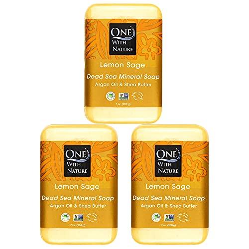DEAD SEA Salt Lemon Sage 7 oz soap 3 PK, Dead Sea Salt Includes Sulfur, Magnesium, and 21 Essential Minerals. Shea Butter, Argan Oil. All Skin Types, Problem Skin. Natural, Therapeutic, 100% Natural