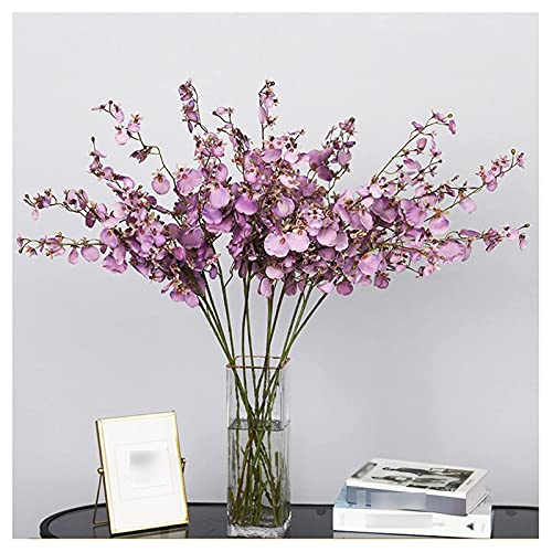 Flores artificiales bailando orquídea simulación flor de gama alta mesa de comedor flor sala de estar interior estilo pastoral estilo de seda adornos adornos piso flor (6) bouquets de decoración