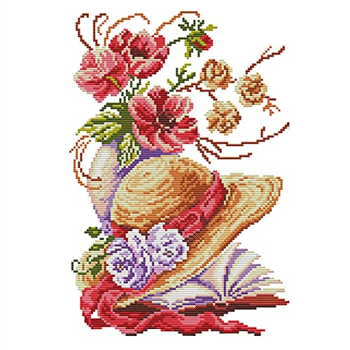 Cukol Kit Punto de Cruz Esquemas para NiñOs Principiantes NiñAs Hacer Flor, Rosa Patrones Manualidades Cuadro Set Kits Bordado Punto de Cruz Contado Completo con Hilos y Tela a Mano