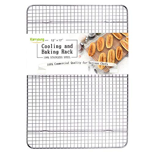 Stainless Steel Wire Cooling Rack, Cookie Cooling Rack, Baking Rack, Grid Design, Size 12 x 17 Dishwasher Safe Wire Rack. Fits Half Sheet Cookie Pan Oven Safe Rack
