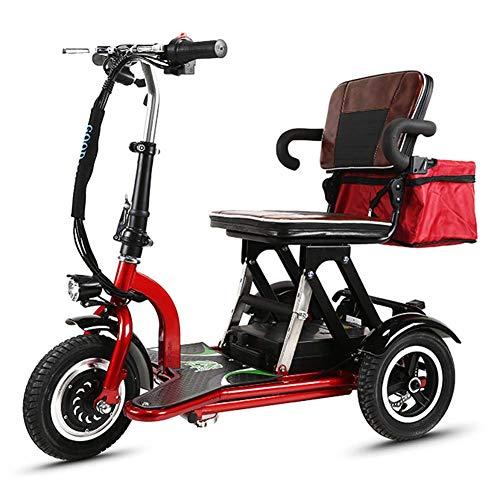 Erwachsene Zusammenklappbares Elektro-Dreirad, Ältere Multifunktions Tragbarer Komfort Stoßdämpfer Mini Electric Scooter, 30-40Km Unisex
