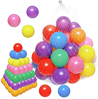Gonioa Ball Pit Pack of 50 Balls Crush Proof Soft Plastic Ball for Kids Small Pop Up Toddler Baby Gift Pit Balls Play Tent,Baby Pool Water Bath Toys,Birthday Party Deco,-7 Bright Colors (2.4In)