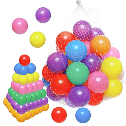 Gonioa Ball Pit Pack of 40 Balls Crush Proof Soft Plastic Ball for Kids Small Pop Up Toddler Baby Gift Pit Balls Play Tent,Baby Pool Water Bath Toys,Birthday Party Deco,-7 Bright Colors (2.4In)