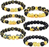 YADOCA 6 Piezas Feng Shui Golden Pi Xiu Lucky Wealthy Amuleto Pulsera Negro Natural Obsidiana Wealth Pulsera Elástico Ajustable 12 mm Bead Dragon Juego de Pulsera Good Lucky