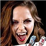 FXCONTACTS Großes Karneval Set, Devil Kontaktlinsen + Behälter + Vampirzähne + Kunstblut Kapseln,...