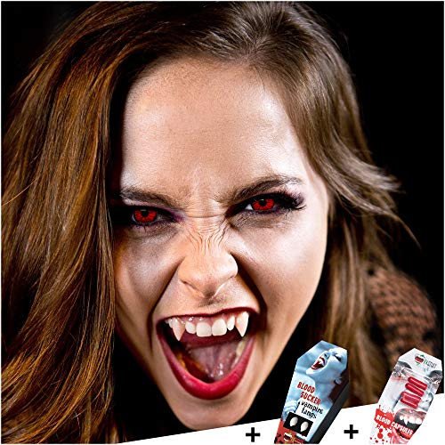 FXCONTACTS Großes Halloween Set, Devil Kontaktlinsen + Vampirzähne + Kunstblut Kapseln, Horror Karneval Kostüm Damen Herren