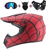 ZOLOP Motocicleta Motocross Moto Casco,Spiderman Style Red Full face Helm,Guantes Increíbles/Gafas/Mascarillas (L, F6)