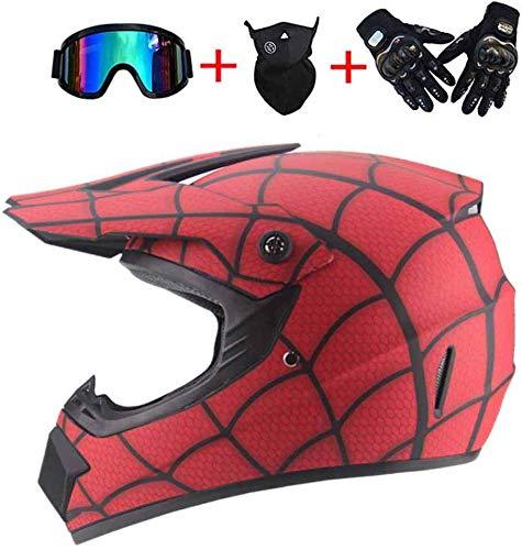 ZOLOP Motocicleta Motocross Moto Casco,Spiderman Style Red Full face...