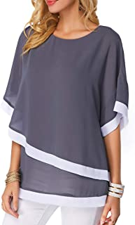 YEMOCILE Women's Batwing Sleeve Oversized Lace Patchwork Blouse Casual Loose Shirt Tops Tee